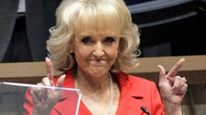 "Saying it makes me barf a little bit in my mouth, but, ""Thank You Jan Brewer"""