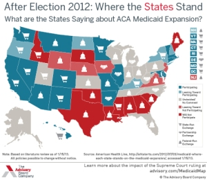 A map detailing individual state positions on Medicaid expansion