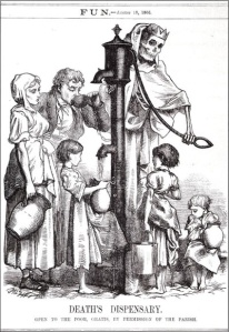 A 19th Century Illustration of Death Manning a Local Water Pump