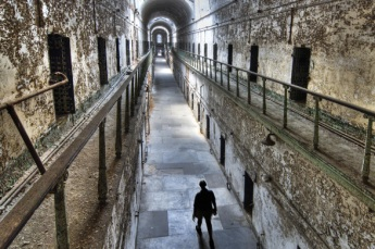 A present day view of Eastern State Penitentiary, one of America's 1st modern prisons
