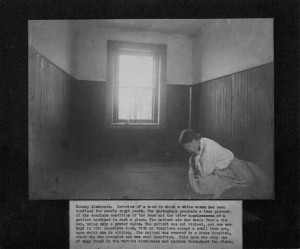 Photograph of a woman in a Baltimore County almshouse circa 1909