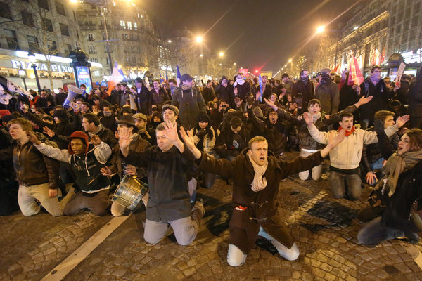 A French anti-marriage protest, possibly re-enacting a scene from Les Miserables