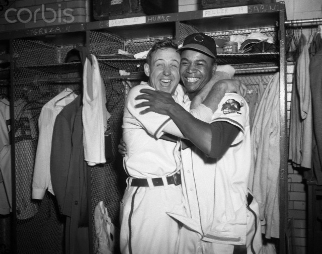 Larry Doby and Indians pitcher Steve Gromek celebrate winning game 4 of the 1948 World Series