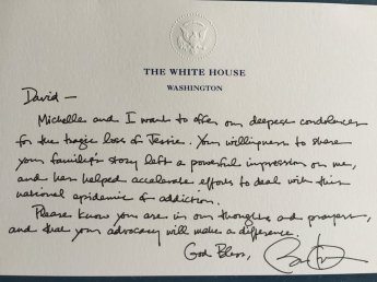 A letter of condolence from President Obama to David Grubb after the overdose death of his daughter Jessica.